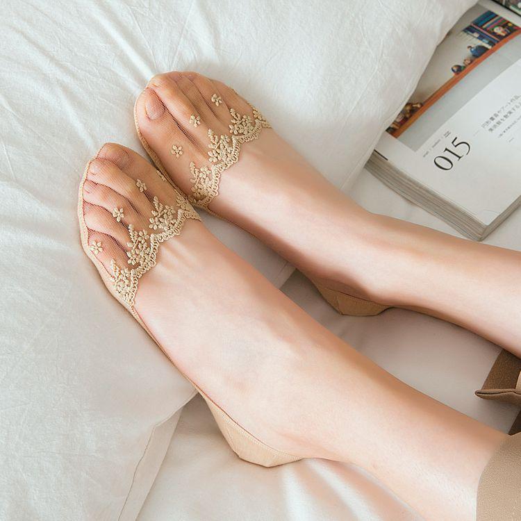 NEW 1 Pair Women Sock Summer Slippers Short Solid Color Nylon Lace Summer Thin Women No Show Mesh Socks Women Invisable