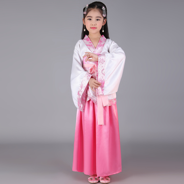 2c6a6261b 2018 summer children traditional ancient chinese silk clothing for girls hanfu  dance costumes folk costume kids tang fairy dress