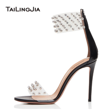 PVC Transparent Sandals for Women Studded High Heel Clear Shoes Ladies Studs Ankle Wrap Summer Shoes Party Evening Heels 2019 недорого