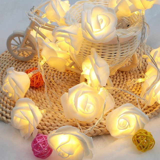 20 Led Yellow Rose Flower Fairy Wedding Party Christmas Valentine S