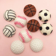 lets start!Flatback Resin Basketball, volleyball, baseball, golf, football.Resin Flatback Cabochon for phone decoration,DIY.24mm