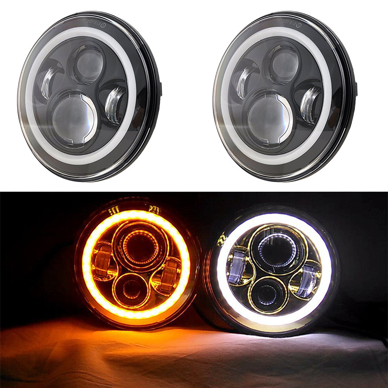 Round 7inch LED Motorcycle Headlight with Amber signal Halo Angel eyes with DRL Halo for 97-15 Jeep wrangler JK LED Headlamp demon eyes 12v 35w 7 inch cob halo hid xenon led headlight headlamp with demon eyes drl canbus ballast for jeeep wrangler 07 15