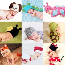 Newborn crochet baby costume photography props knitting baby hat bow infant baby photo props newborn baby girls cute outfits