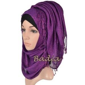 Image 4 - one piece shimmer solid plain glitter hijab scarf shinny metallic long tassel muslim viscose lurex shawl islamic head wraps