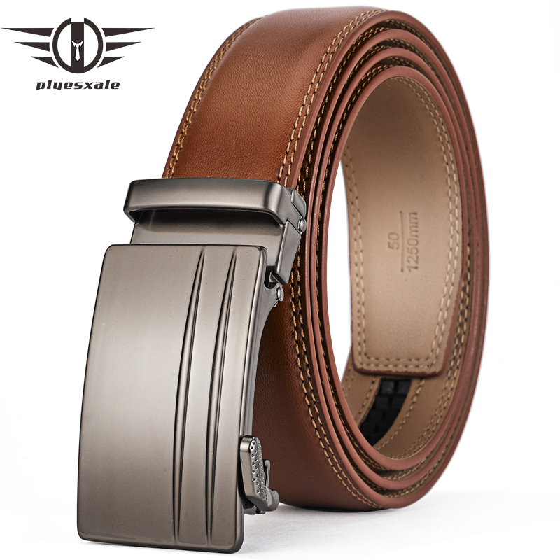 Plyesxale Brown Automatic Buckle Belt Men Genuine Cow Leather Belts For Men Elegant Formal Belt ceinture homme luxe marque G69