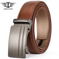 Plyesxale Brown Automatic Buckle Belt Men Genuine Cow Leather Belts For Men Elegant Formal Belt ceinture homme luxe marque G69
