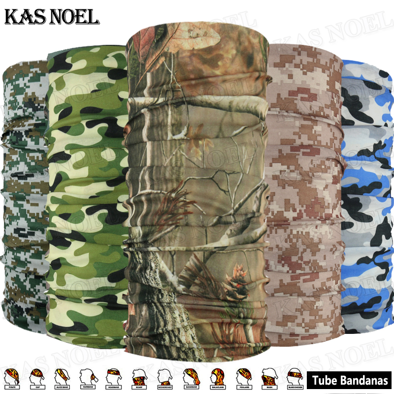 10st Unisex Fashion Diverse Camouflage UV-skydd Microfiber Multifunktion Outdoor Sport Bandana Tube Headwear
