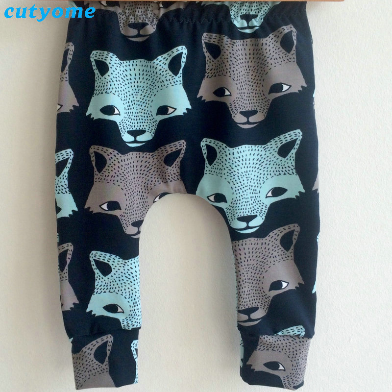 Cutyome Baby Kids Boys Harem Pants Wolf Printed Casual Cartoon Elastic Trousers Newborn Infant Boy Costume Bottoms Clothes 3-24M (6)