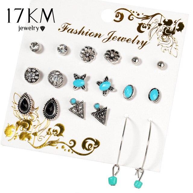 17km Bijoux Waterdrop Erfly Crystal Stud Earrings For Women Vintage Boho Brincos Flower Clip Cuff Earring Set 9 Pairs