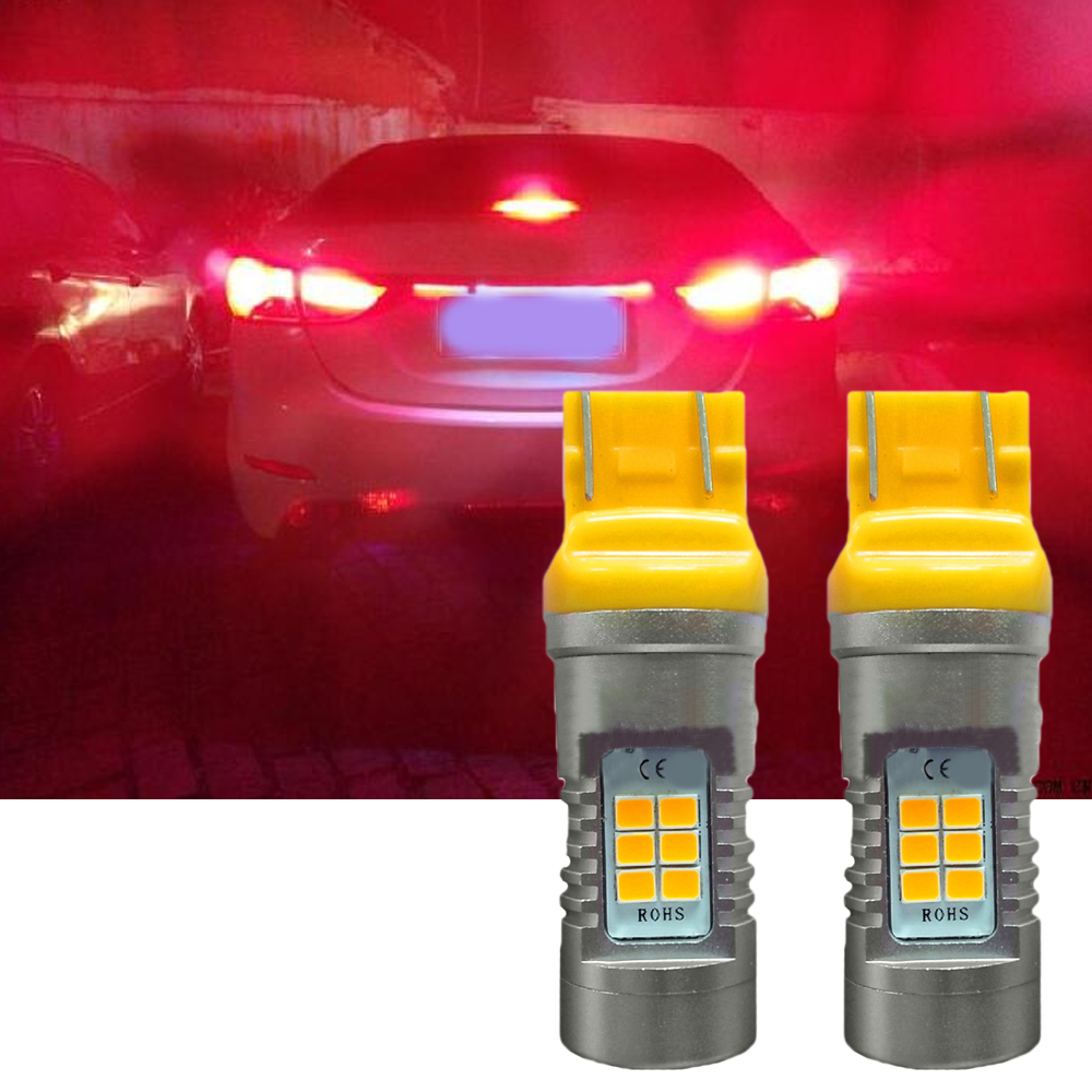 2PCS T20 21SMD 7443 LED Amber Yellow Led Back Up Reverse Turn Signal Light Bulbs For Brake Lamp And Side Light Car Styling 1pair