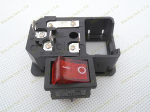 Image 2 - Free Shipping 10pcs switch socket with light Red,AC power socket Plug 4Pin 10A 250V with Fuse Block + 10A Fuse