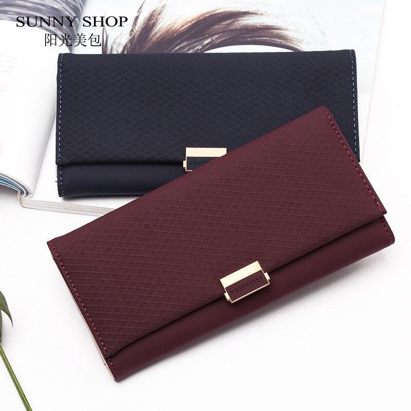 Vintage Wallet Women Leather Purse Wallet Women Luxury Plaid Phone Purse Long Clutch Big Money Bag Card Coin Holder Dropshipping