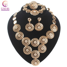 New arrival Wholesale& Retail Dubai African Chunky Gold color Crystal Necklace Earrings Bracelet Ring Jewelry Sets(China)