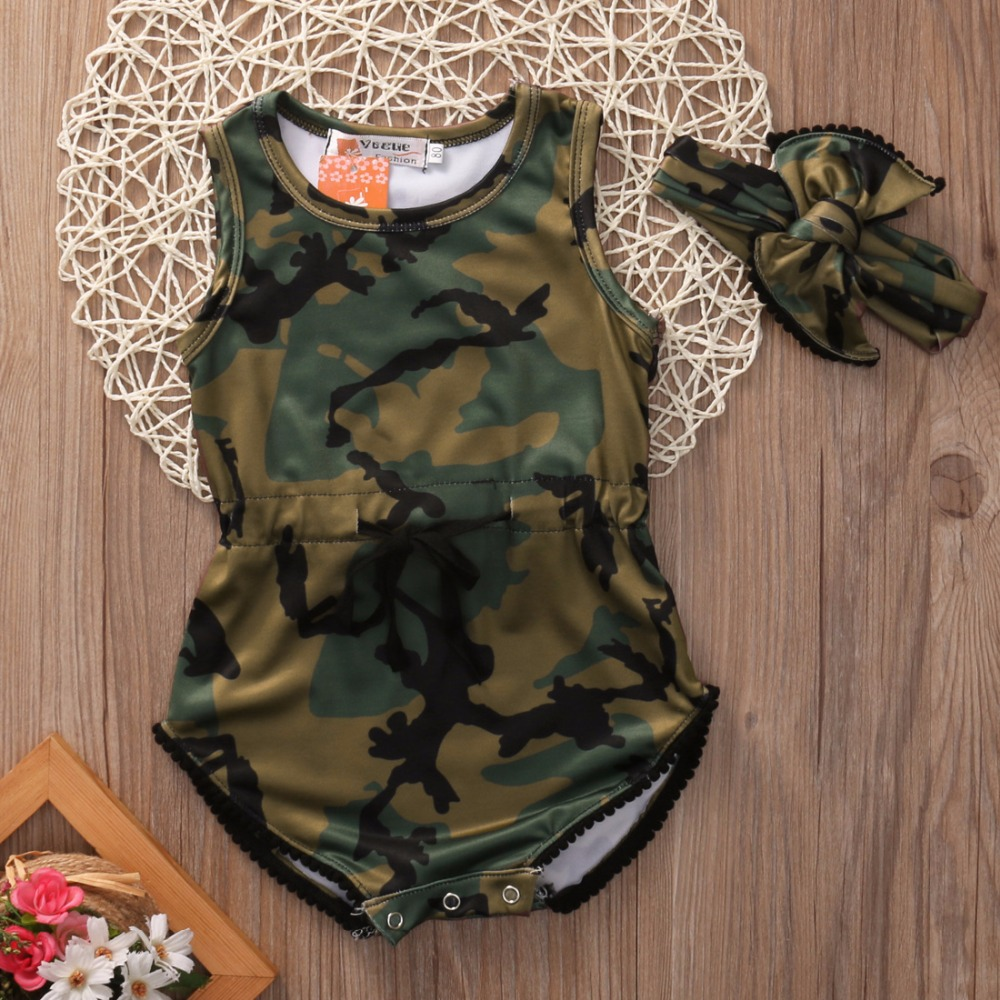 a16ecd905f4 Newborn Kids Baby Girl Clothing Army Green Romper Jumpsuit Sleeveless  Fashion Playsuit Cute Headband Clothes Baby Girls Outfit-in Rompers from  Mother   Kids ...