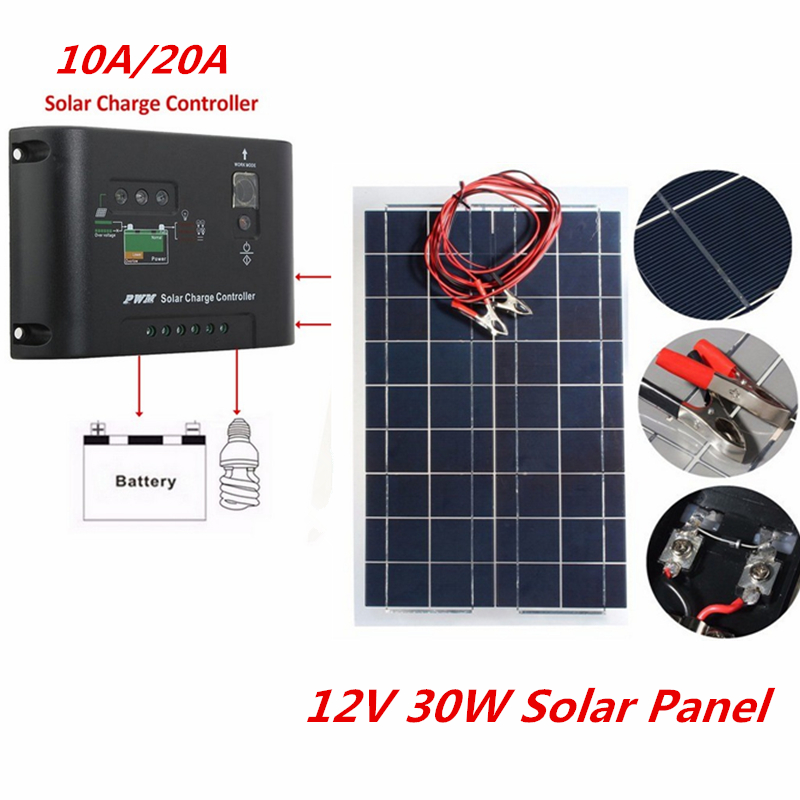 12V 30W Solar Panel with 10A 20A Charger Controller PolyCrystalline Semi Solar Charger Battery for Car Boat Solar System