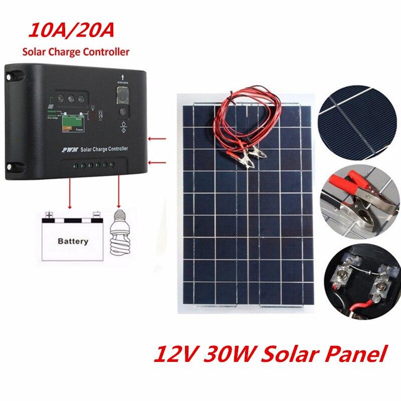 12 В 30 Вт Панели Солнечные с 10A 20A Зарядное устройство контроллер поликристаллического полу Солнечный Зарядное устройство Батарея для автомо...