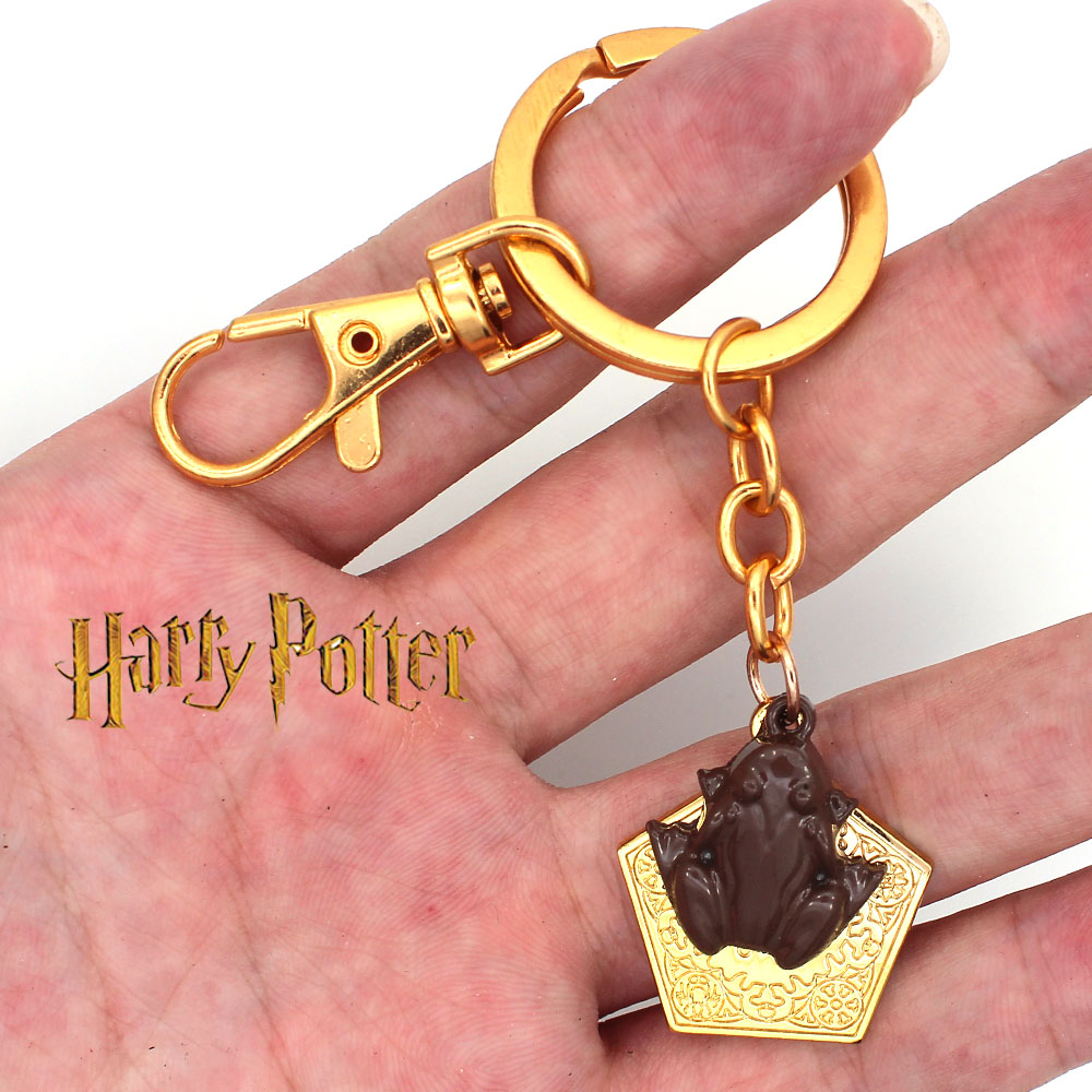 Harri Potter Chocolate Frog Gold Metal Handmade Pendant Keychain Keyring Necklace Chain Ornament Cosplay Collection Gift New