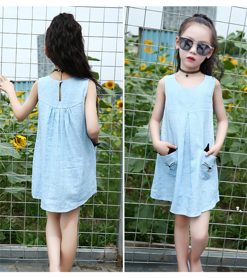 luoyamy Summer Girls Linen Cat Pocket Dress 2017 Children Cute Beach Party  Clothing Wedding Kids Chiffon Princess O-neck Dresses 62b3f5bcc916