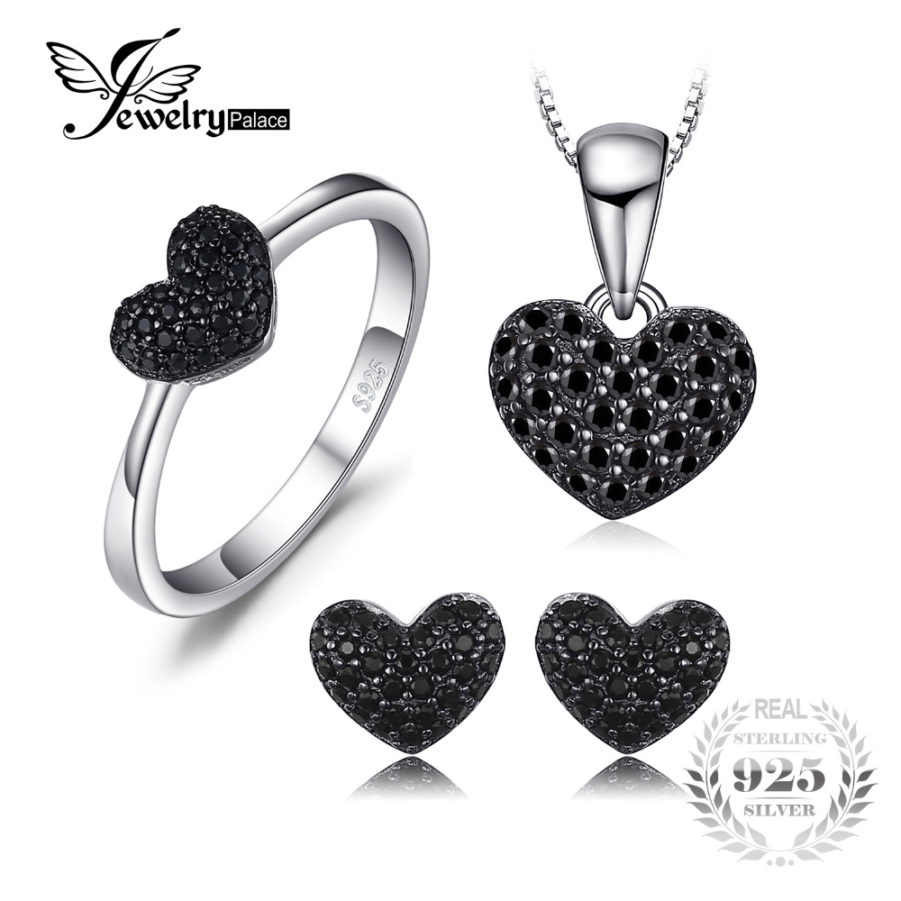JewelryPalace New Heart  Genuine Spinel Pendant Necklace Ring Stud Earrings 925 Sterling Silver Jewelry Sets For Women Gift