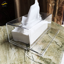 BR Acrylic Tissue Box Removable Drawing Type Transparent Rectangular Storage Napkin Holder Dispenser