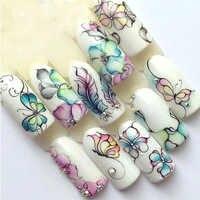 1 blätter Bunte Lila Fantacy Blumen Nagel Aufkleber Wasser Transfer Maniküre Decals Tipp Dekoration Aufkleber Für Nägel TRSTZ509
