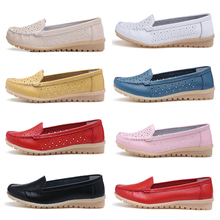 STQ 2019 Summer women flats shoes women genuine leather shoes woman cutout loafers slip on ballet flats ballerines flats 169