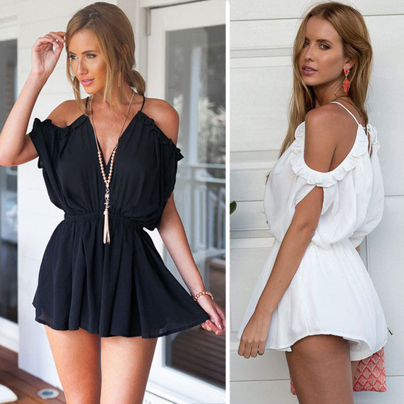 201699631b14 Summer Beach Sexy Jumpsuit Women Fashion Off Shoulder Spaghetti Strap  Ruffled Rompers Womens playsuit V Neck Overalls Bos.md-24