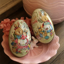 New 2pcs Easter Day Eggs Creative Gift Wedding Tin Box Pink and Blue Peter Rabbit Fashion Wedding Supplies Candy Packaging Box(China)