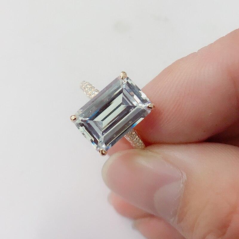 LESF luxe 6 Ct 925 bagues en argent Sterling pour femmes or Rose bague de fiançailles mariage SONA diamant femmes bijoux - 5