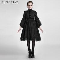 Панк рейв Лолита Стиль черная часть платья с кружевом оформлен LQ 076