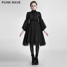 PUNK RAVE Lolita style black part dress with lace decorated LQ-076