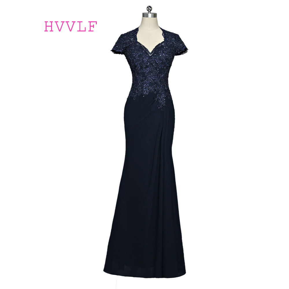 Navy Blue 2019 Mother Of The Bride Dresses Mermaid Cap Sleeves Chiffon Lace Long Evening Dresses Mother Dresses For Wedding