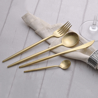 4Pcs Luxury Gold Cutlery Set 18 10 Stainless Steel Frost Knives Fork Spoons Restaurant Gold Flatware