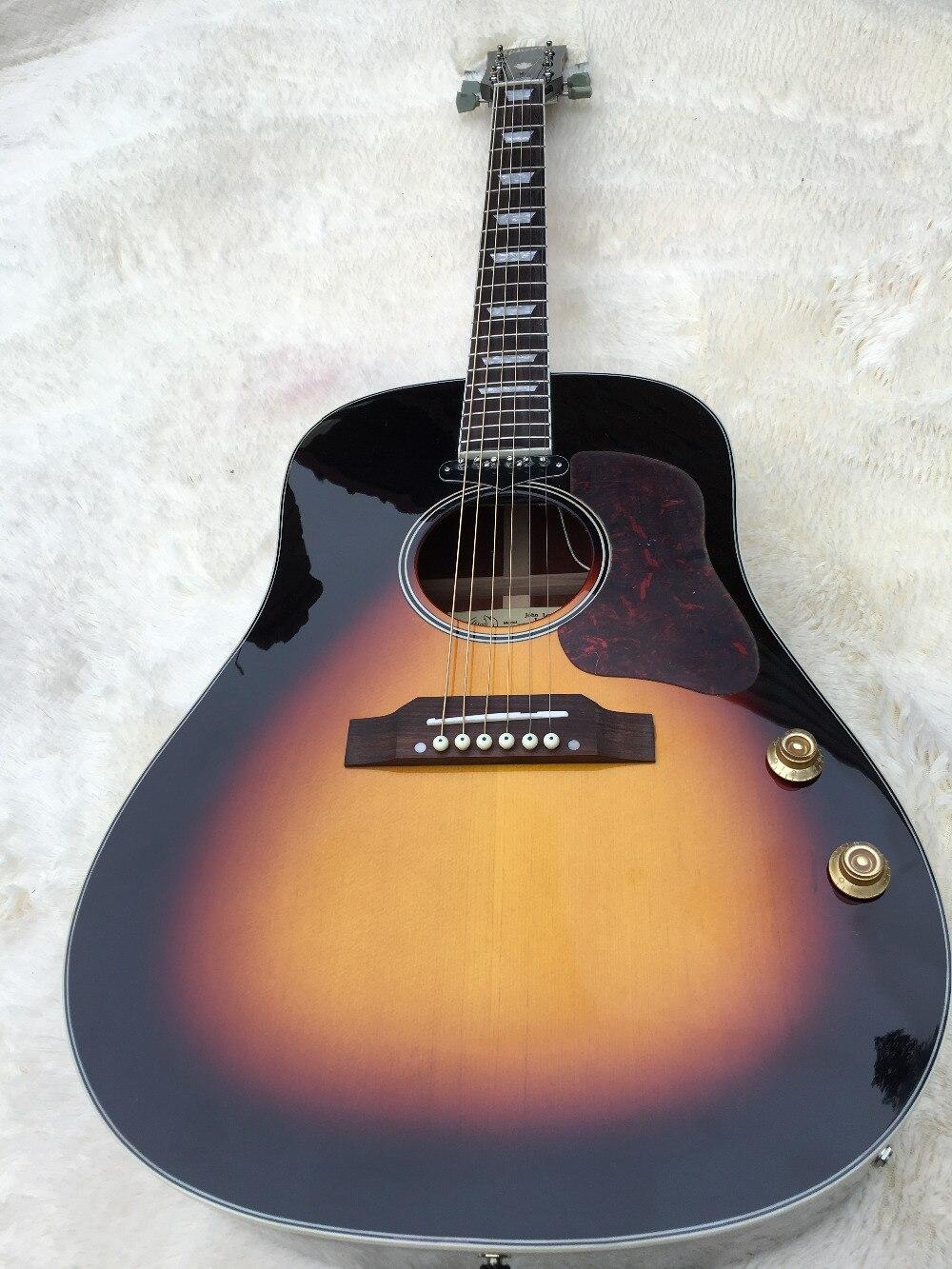 2016 Nieuwe + Fabriek + Chinese 160 vintage VS Akoestische gitaar John lennon sunburst J160 akoestische gitaar met geluid gat pickup