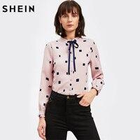 SHEIN Frill Cuff Geometric Print Tie Neck Blouse Pink Women Shirt Top Blouses Band Collar Long