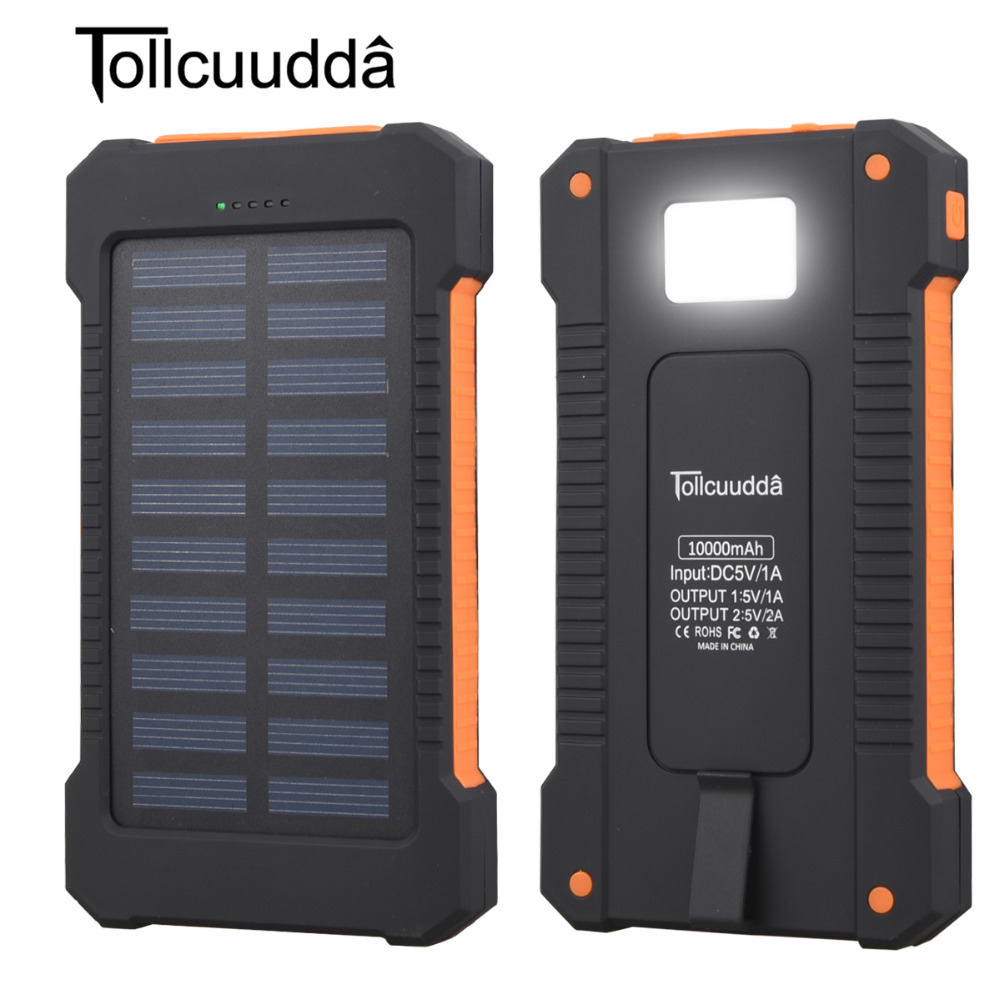 Tollcuudda 10000mAh Waterproof Portable Solar Charger Dual USB Battery Power Bank For iPhone 7 Samsung Smartphone