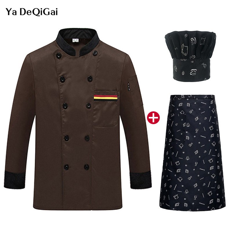 News Quality Restaurant Uniforms Shirts Double Breasted Chef Jackets Long Sleeved Catering Hotel Kitchen Workwear Chef Hat Apron