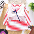 new 2016 autumn 2-7 years child clothing children thick clothes  girl t shirt  baby Princess striped mock two pcs