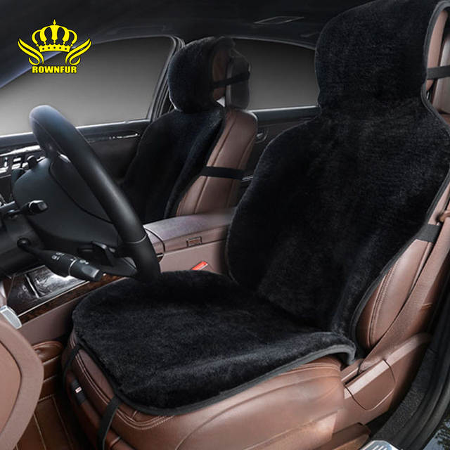 Online Shop Car Seat Covers Set Black Faux Fur Cute Car Interior