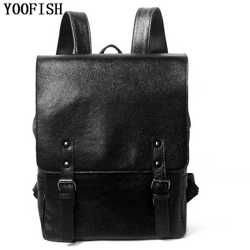 YOOFISH Fashion Genuine Leather Cowhide Backpack Girls School Bags Zipper Leather Backpack for Laptop Women Men Bags Backpack men backpack leather fashion real cow leather backpack for men leisure men genuine leather 14 laptop backpack safe back zipper