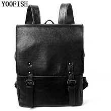 YOOFISH Fashion Genuine Leather Cowhide  Backpack Girls School Bags Zipper for Laptop Women Men