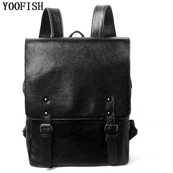 YOOFISH Fashion Genuine Leather Cowhide  Backpack  Girls School Bags Zipper Leather Backpack for Laptop  Women Men Bags Backpack