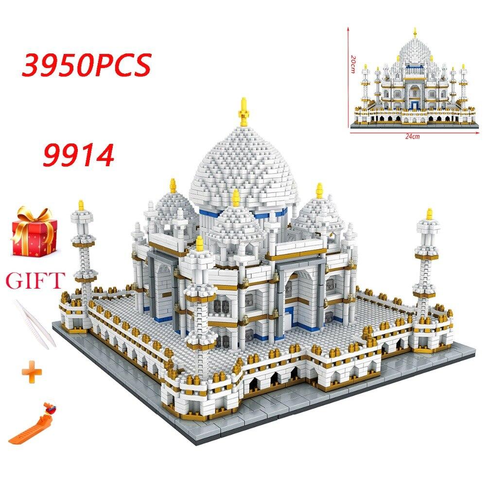 Diamante Mini Cidade De Tijolos Para Construção Terra marcas Arquitetura Taj Mahal Palace 3D Modelo de Brinquedo Educacional das Crianças