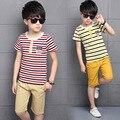 Conjuntos de Roupas menino Set Crianças Ternos Do Esporte das Crianças Para As Crianças de Algodão T-Camisa + Calça Terno Roupas de Verão 2016 Curto