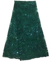 (5yards/pc) high quality emerald green African French net lace fabric with sequins and wonderful embroidery for party FLZ024