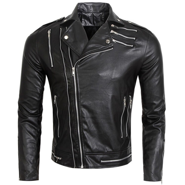 Multi Zipper Slim Fit Men Leather Biker Jackets Male Black Leather Jacket Men Motorcycle Pu Coat Plus Size XXXL