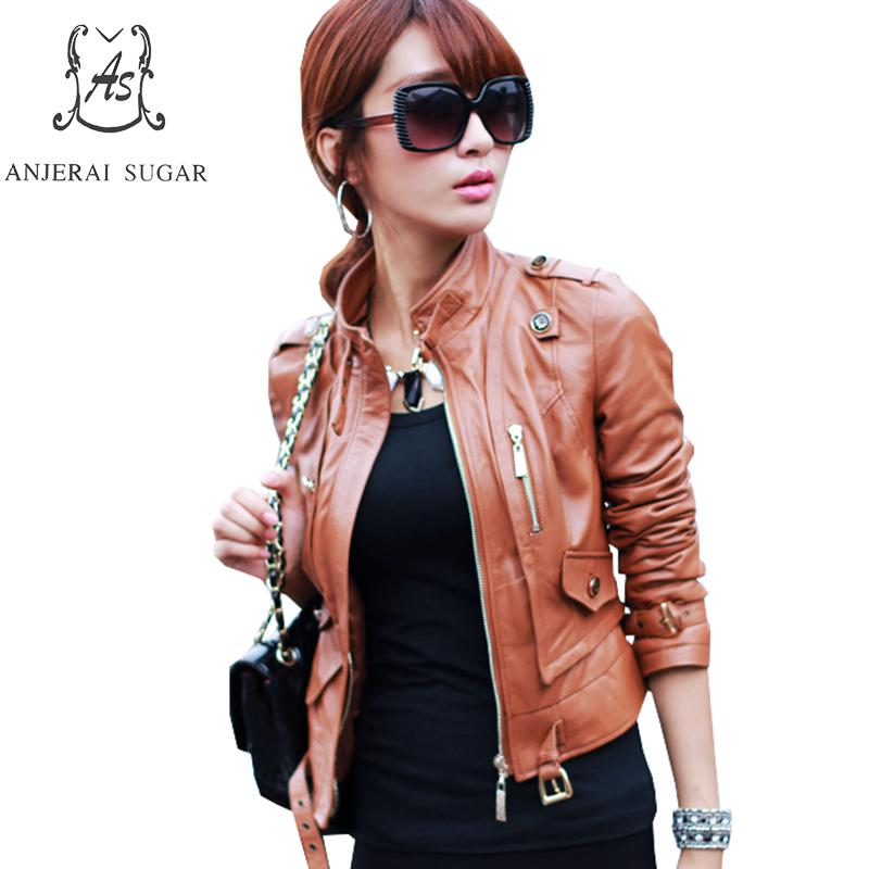 Spring new Sheepskin Genuine Leather jacket women Casual motorcycle brown sexy slim zipper OL office female short jackets coat