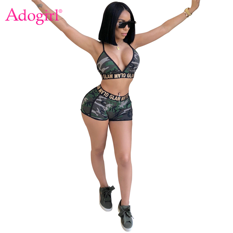 Adogirl Glam Letters Print Women Camo Tracksuit Spaghetti Straps Bra Top Fitness Shorts Sexy Night Club Outfits Sporting Suits