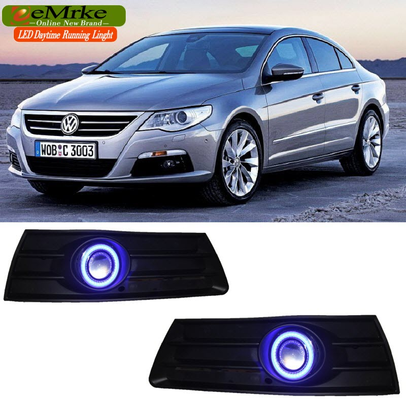 eeMrke For For Volkswagen VW CC LED Angel Eye DRL Daytime Running Lights Halogen Bulbs H11 55W Fog Lamp Kits eemrke daytime running lights for mazda6 sedan wagon led angel eye drl halogen h11 55w fog lamp kits