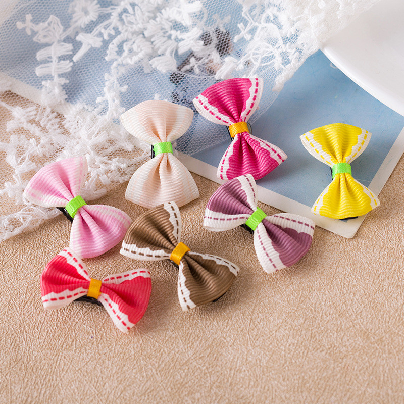 2PCS Lovely Solid Bow Hairpin Hair Bands Toys For Girls Handmade Small Clips Headband Scrunchy Hair Accessories For Kids 2018